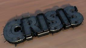 Krise 3d verdrängen Text Lizenzfreies Stockfoto
