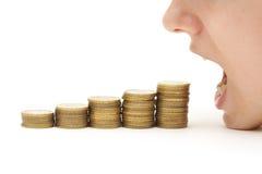Krise, die Ihr Geld isst stockfotos