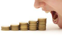 Krise, die Ihr Geld isst lizenzfreie stockfotos