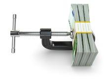 krise Konzept der Verringerung von Kosten Kolben und Euros Lizenzfreies Stockbild