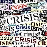 Krise versieht Fliese mit einer Überschrift stock abbildung
