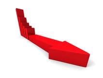 Krisen-Finanzbalkendiagramm mit dem Pfeil, der unten zeigt Stockfotografie