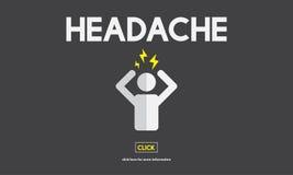 Krisen-Kopfschmerzen-Belastungssyndrom-Krankheits-Konzept lizenzfreie abbildung
