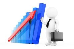 Krisen-Manager Concept Griff des Geschäftsmannes 3D ein Wachstums-Diagramm 3D r Stockfotografie