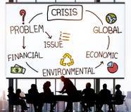 Krisen-wirtschaftliche Klimafinanzglobales Konzept Lizenzfreies Stockfoto