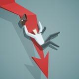Krisenkonzept - das Pfeildiagramm, das unten gehen und der Geschäftsmann ist falli Stockfoto