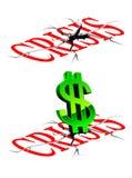 Krisenkonzept mit unten Dollar Lizenzfreies Stockbild