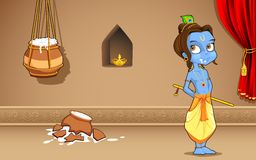 Krishana i Janmashtami royaltyfri illustrationer