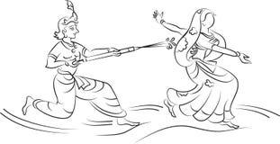 Krishna που παίζει Holi με Gopi Στοκ Εικόνες
