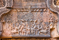 Krishna and Balarama ancient carving, Angkor Royalty Free Stock Image
