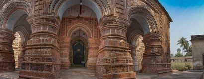 Krishna Chandra temple, Kalna. Krishna Chandra temple of Kalna, West Bengal, India - It is one of oldest temples of at Kalna with terracotta art works on the royalty free stock images