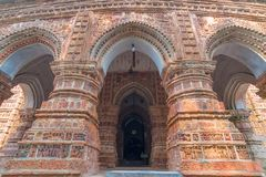 Krishna Chandra temple of Kalna, West Bengal, India. It is one of oldest temples of at Kalna with terracotta art works on the temple walls stock image