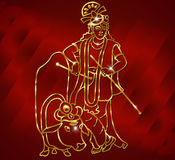 Krishna con goldenartwork si siede sulla mucca e gioca la flauto sui precedenti blu Fotografia Stock Libera da Diritti