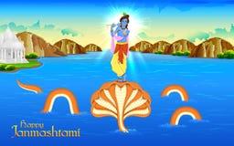 Krishna dancing on Kaliya Naag Stock Images