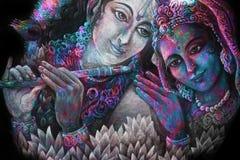 Krishna delle coppie e togerher divini di radha, illustrazione di verniciatura Fotografia Stock