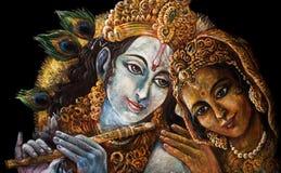 Krishna delle coppie e togerher divini di radha, illustrazione di verniciatura Fotografie Stock Libere da Diritti