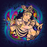 Krishna Gopalpriya Paramatma. Krishna playing the flute on a psychedelic background. Vector poster for a party, printing on T-shirts, greeting cards or Royalty Free Stock Photography
