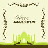 Krishna Janmashtami background. In . Greeting card for Krishna birthday. Illustration of India community festival Krishna Janmashtami. Image peacocks and a vector illustration