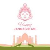Krishna Janmashtami background. In . Greeting card for Krishna birthday. Illustration of India community festival Krishna Janmashtami. Image peacocks and a Royalty Free Stock Image