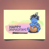 Krishna Janmashtami background. In . Little cartoon Krishna with a pot of butter. Greeting card for Krishna birthday. Illustration of India community festival vector illustration