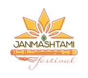 Krishna Janmashtami festival concept logo design. Krishna Janmashtami concept logo design. Annual Hindu festival. Celebration of the birth of Krishna. Vector Royalty Free Stock Photo