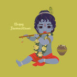 Krishna janmashtami greeting card. Dahi handi festival vector illustration with little Krishna playing the flute Stock Photography