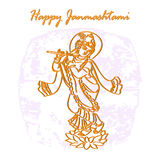 Krishna_Janmashtami. Happy Janmastami, abstract vector image of Krishna with flute in the form of a double contour and the inscription on a vintage background vector illustration