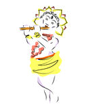 Krishna. Janmashtami. The birth of Krsna. The silhouette of the deity with the flute is painted with colors. Sketch. Stock Image