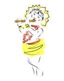 krishna Janmastami Die Geburt von Krsna Das Schattenbild der Gottheit mit der Flöte wird mit Farben gemalt skizze vektor abbildung