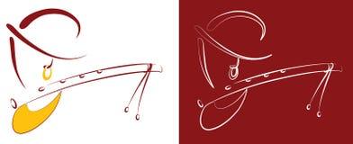 Krishna Line Art-illustratie Stock Afbeeldingen