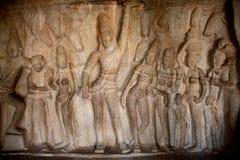 Krishna Mandapum, Bas-relief in Mammallapuram, Stock Photo