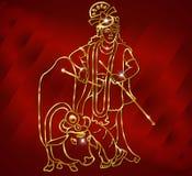 Krishna med goldenartwork sitter på kon och spelar flöjten på den blåa bakgrunden Royaltyfri Foto
