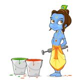 Krishna Playing Holi Stock Images
