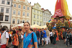 Krishna procession in Prague. Stock Images