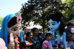 Krishna and Radha. With children at 41-st Annual Festival of India in July 13, 2013 in Toronto, Canada Stock Image