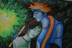 Krishna-Radha Indian Painting. Krishna Radha hand made painting depicting indian culture Stock Photo