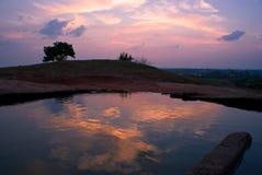 Krishna's swimming pool. Real swimming pool of Krishna in Mahabalipuram (India) on the heal stock photography