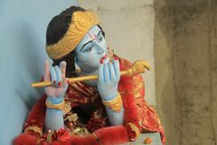 Krishna statue in Amritsar. Krishna statue with flute. Krishna is an hindu god, hare krishna is the mantra royalty free stock photography