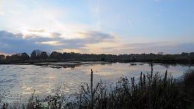 Kristalbad Enschede en la puesta del sol Imagenes de archivo