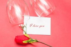Kristalglazen en rozen Royalty-vrije Stock Foto
