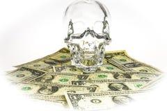 Kristalhoofd met dollars Royalty-vrije Stock Foto