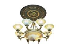 Kristalkroonluchter in barokke die stijl over wit wordt geïsoleerd Royalty-vrije Stock Foto's