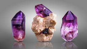Kristall av ametist Arkivfoton