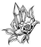 Kristall med en blommatatuering Prickarbete som är psykedeliskt, zentanglestil också vektor för coreldrawillustration royaltyfri illustrationer