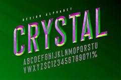 Kristallanzeigenguß mit Facetten, Alphabet, Buchstaben und Zahlen stock abbildung