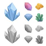 Kristalle, Mineralien, Goldbarren Kostbare Mineralien und gesetzte Sammlungsikonen des Juweliers in der Karikatur, einfarbiger Ar Lizenzfreies Stockfoto
