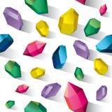 Kristallen op witte achtergrond. vector illustratie
