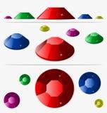 Kristaller av olika färger och vinklar vektor illustrationer