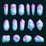 Kristaller och mineraler, vektortecknad filmillustration Ställ in av abstrakta rå gemstones Ljusa ädelstenar planlägger beståndsd royaltyfri illustrationer