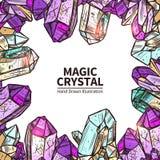 Kristaller räcker den utdragna illustrationen vektor illustrationer